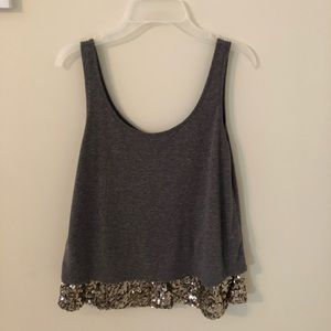 Heather gray tank top with sequin bottom